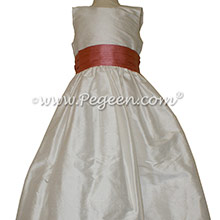 New Ivory and Coral Rose flower girl dresses Style 398 by Pegeen