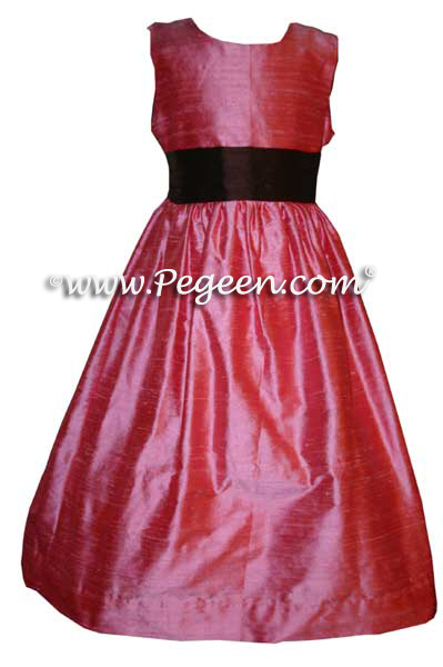 gumdrop pink and chocolate brown CUSTOM FLOWER GIRL DRESSES