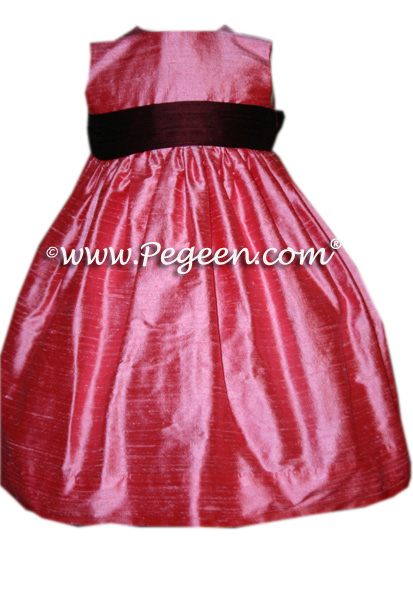 burgundy sash on a  FLOWER GIRL DRESSES