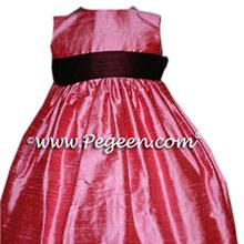 CUSTOM GUMDROP PINK AND BURGUNDY TODDLER DRESSES