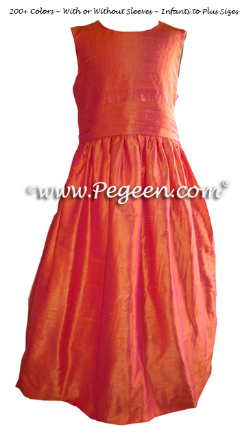Solid Mango (orange) silk custom flower girl dresses - Style 318