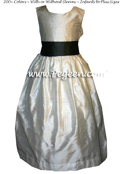GRAY AND BLACK CUSTOM FLOWER GIRL DRESSES