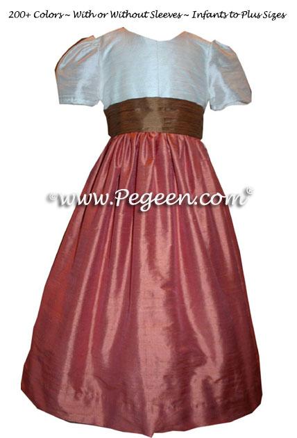 Salmon Flame, Ginger and Ivory Pin Tuck Bodice custom flower girl dresses