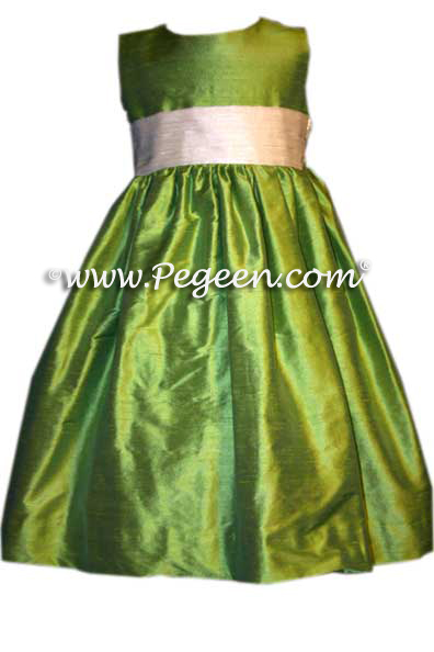LIME GREEN SILK FLOWER GIRL DRESSES