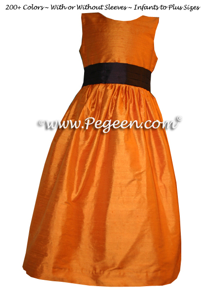 tangerine and chocolate brown flower girl dresses