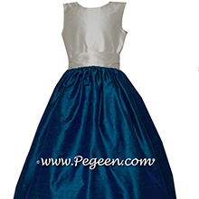 BISQUE AND DARK CYAN SILK JR BRIDESMAIDS DRESSES