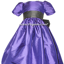 Deep Plum and Black flower girl dresses Style 398 by Pegeen