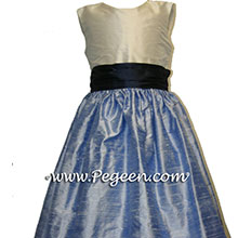 Denim blue and navy flower girl dresses