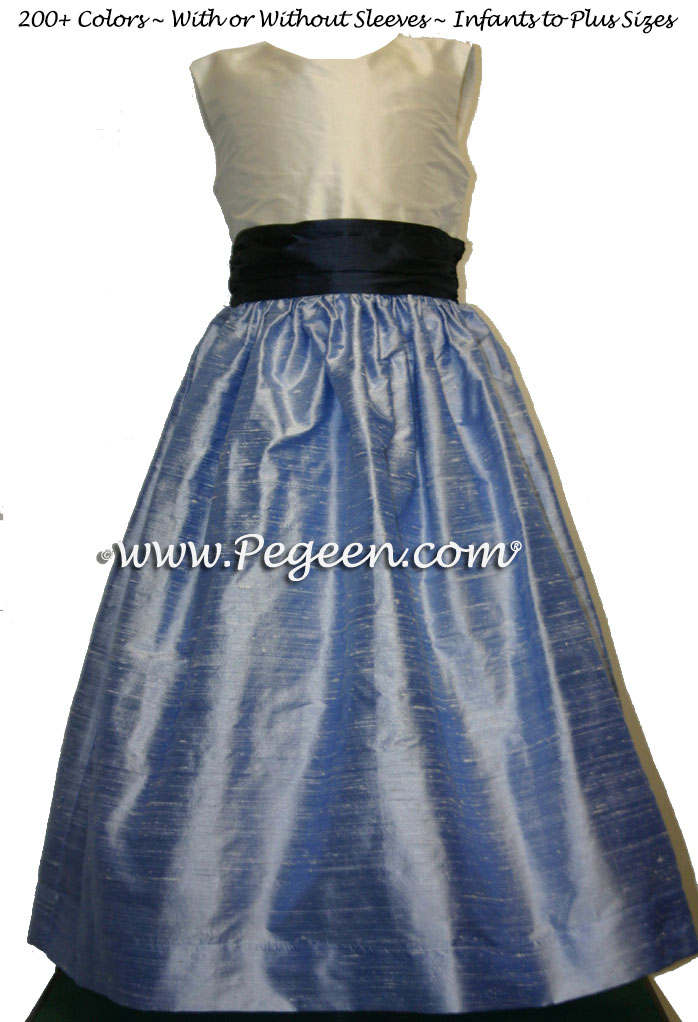 DENIM AND NAVY FLOWER GIRL DRESSES