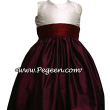Eggplant Cranberry and Ivory Flower Girl Dresses