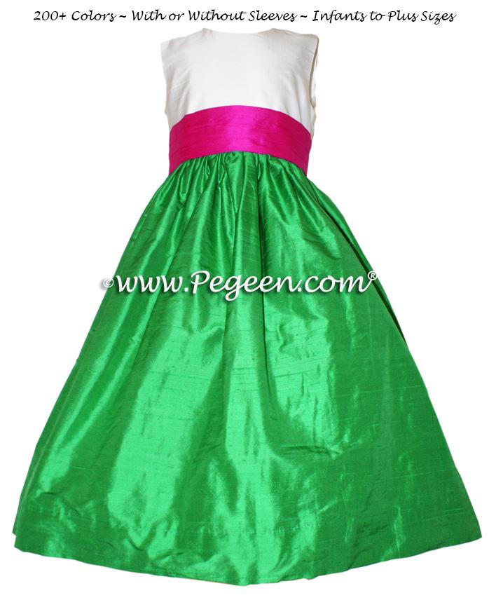 key lime green and raspberry sash flower girl dresses