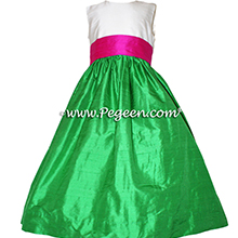key lime green and raspberry and white silk flower girl dresses