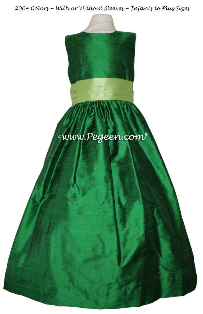Flower girl dresses Style 398 in Emerald and Jasmine Green| Pegeen