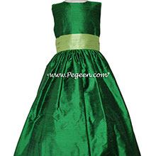 Emerald and Jasmine Green flower girl dresses Style 398