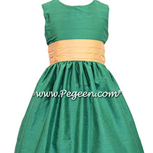 Emerald and Pure Gold Green flower girl dresses Style 398 by Pegeen