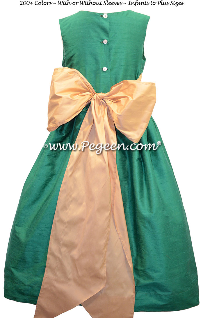 Emerald and Pure Gold Green flower girl dresses