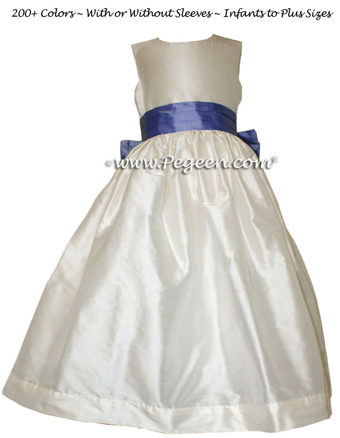 Antique White and Euro Peri Sash Flower Girl Dresses