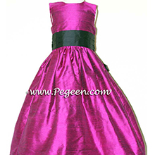flamingo pink and black CUSTOM Flower Girl Dresses