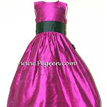 flamingo pink and black CUSTOM Flower Girl Dresses