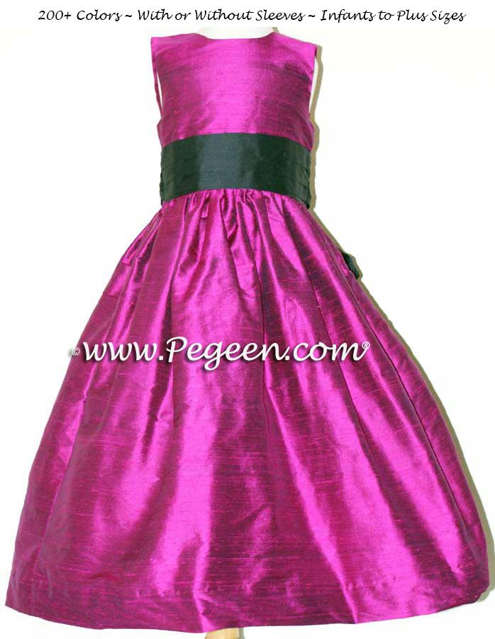 flamingo and BLACK flower girl dresses