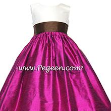 chocolate and flamingo pink silk flower girl dresses