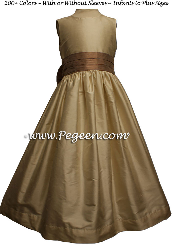 Buttercreme and antiqua taupe flower girl dress in silk