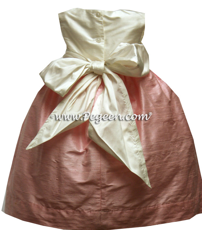 HIBISCUS PINK and SHELL PINK silk flower girl dresses