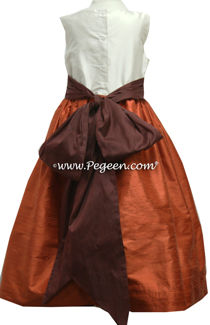 ORANGE AND CHOCOLATE BROWN silk flower girl dresses
