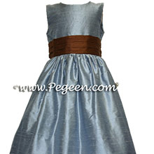french blue and chocolate brown flower girl dresses