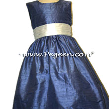 french blue and green foam flower girl dresses