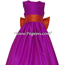 Flower Girl Dresses in FUSCHIA and MANGO by PEGEEN - Custom flower girl dress style 398