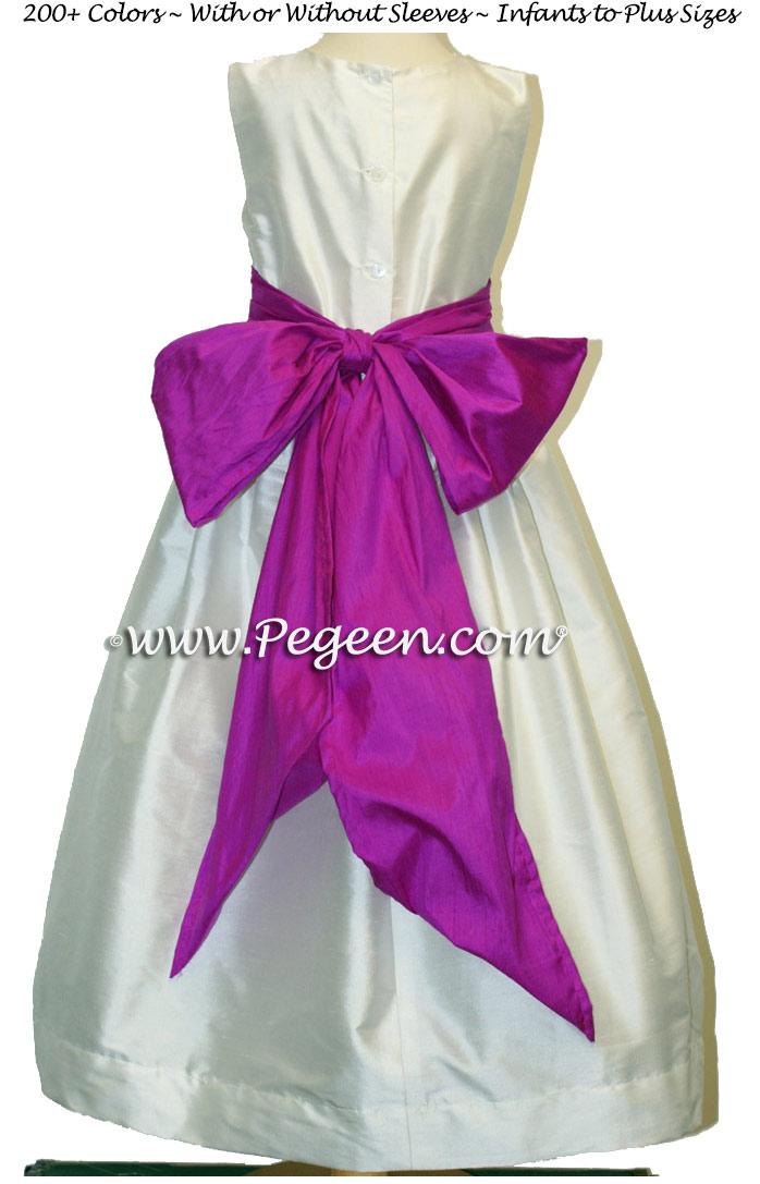 IVORY AND FUSCHIA (BERRY) JUNIOR BRIDESMAIDS DRESSES