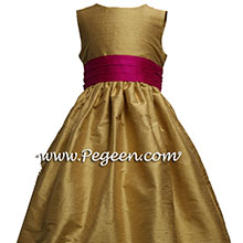 Spun Gold and Boing (fuschia) Silk  flower girl dresses