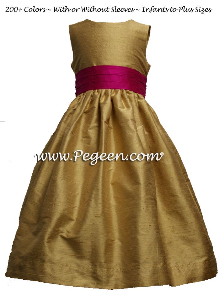 Spun Gold and Boing (fuschia)flower girl dress in silk