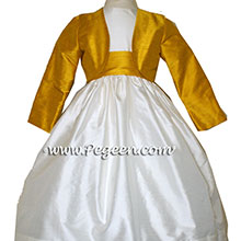 Goldenrod and Ivory silk flower girl dresses