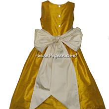 goldenrod yellow and buttercreme silk flower girl dresses
