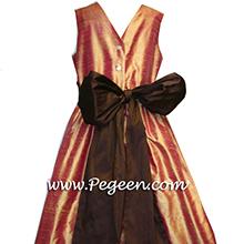 grapefruit and brown flower girl dresses