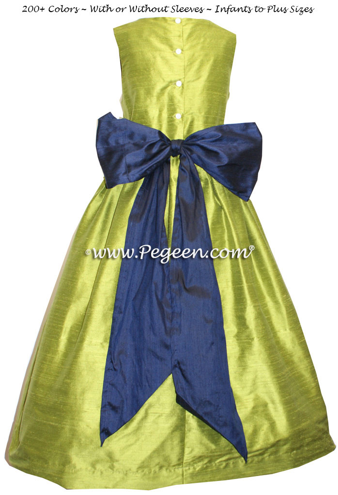 Flower Girl Dresses in Chartreuse Green and Navy Blue Silk | Pegeen