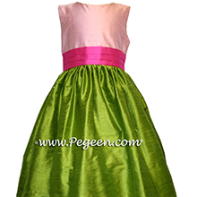 BUBBLEGUM PINK, SHOCKING HOT PINK AND GREEN FLOWER GIRL DRESSES