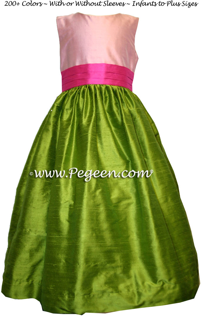 Bubblegum Pink, Grass Green and Hot Pink silk FLOWER GIRL DRESSES