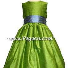 Silk Flower girl dresses in apple grass green and french blue