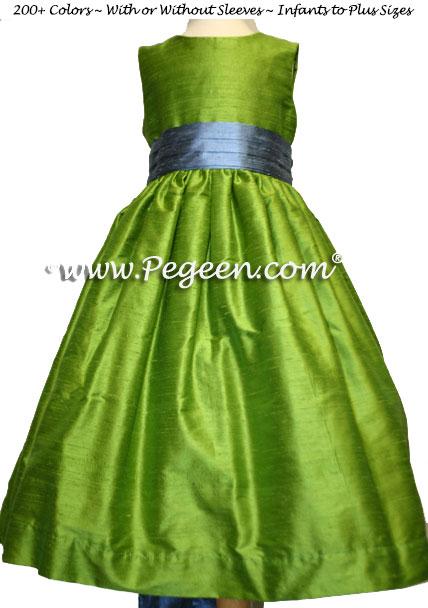 CUSTOM Silk Flower girl dresses in apple grass green and french blue