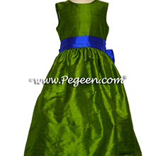 grass green and indigo blue flower girl dresses