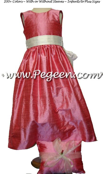 GUMDROP PINK SILK FLOWER GIRL DRESSES