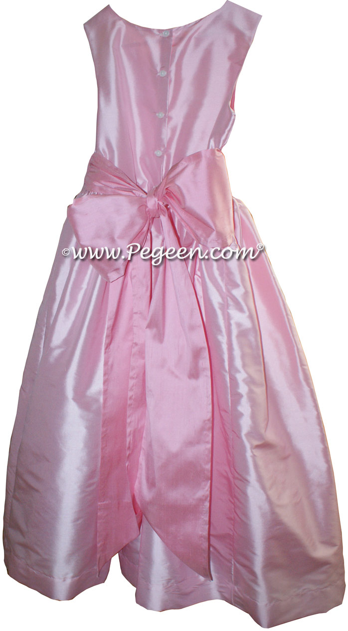 Hibiscus Pink and Bubblegum Pink FLOWER GIRL DRESSES with bustle and flowers