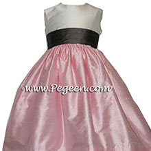 hibiscus pink and pewter flower girl dresses