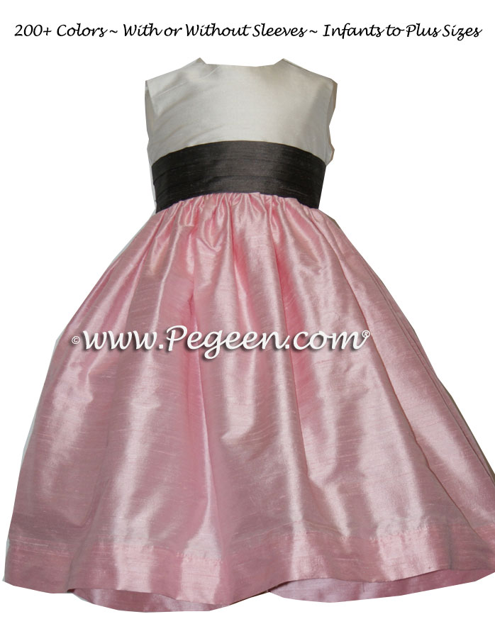 Hibiscus Pink and Pewter Gray flower girl dresses