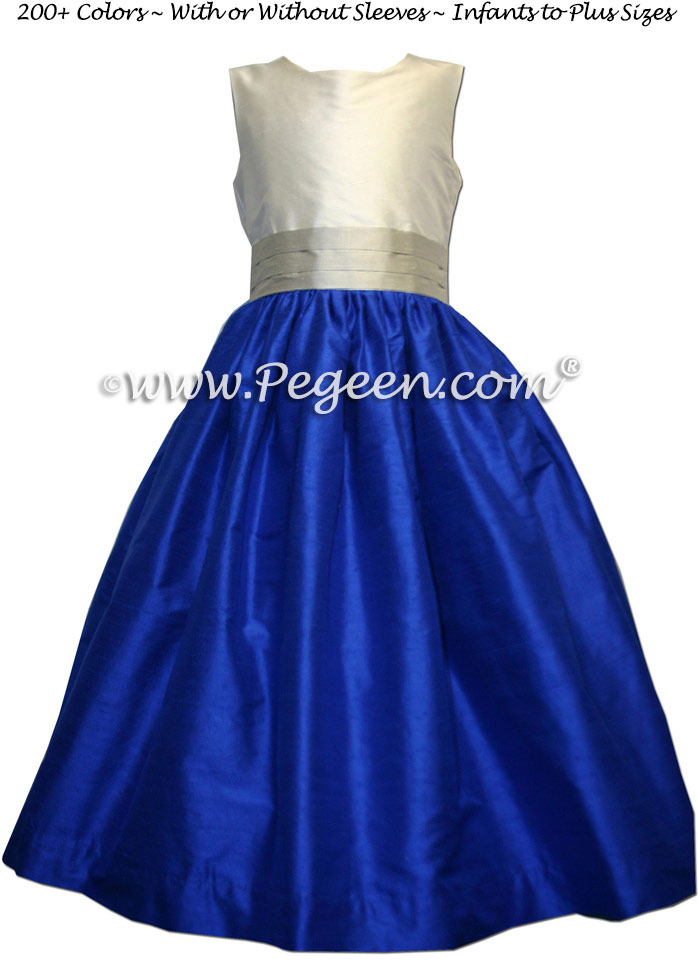 PLATINUM and INDIGO BLUE silk FLOWER GIRL DRESSES