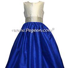 Indigo Blue and  Platinum silver gray junior bridesmaids dresses