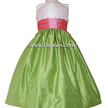 Gumdrop pink and Jasmine Green Flower Girl Dresses by PEGEEN With Pleated Sash